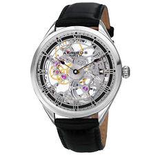 New Men's Akribos XXIV AK802SSB Vibrant Mechanical Skeletal Black Leather Watch