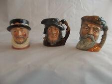 3 Mini Royal Doulton Character Toby Jugs Crusoe Rip Van Winkle Beefeater