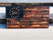 AR-15 Wood Flag- 2nd Amendment Wood Burned Flag- Garage Decor- Gun Flag