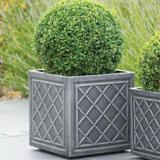 Large Square Planter Pot 38 cm Lead Effect Quality Plastic Garden Flowers Patio