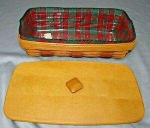 Longaberger WT BREAD Basket COMBO Lid, Evergreen Plaid Liner & Protector Set