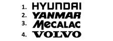 Sticker, aufkleber, decal - HYUNDAI YANMAR MECALAC VOLVO  - 50 70 100 cm