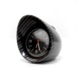 Car SUV Dashboard Clock Round Backlight Display Glossy Carbon Fiber Look Shell