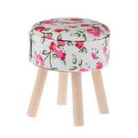 1:12 Dollhouse miniature furniture round floral stool for dolls house decorFSJC