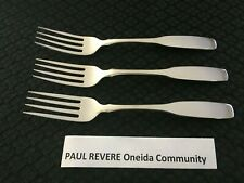 Lot of 3 Paul Revere Oneida Community Stainless Dinner Fork Free Ship