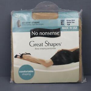 No Nonsense Great Shapes Pantyhose - Beige Mist - Size E - Sheer Toe - NOS
