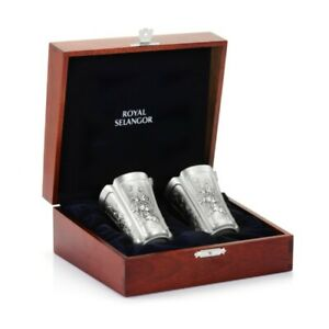Royal Selangor Four Seasons Collection Pewter Beakers (Pair) in Wooden Gift Box