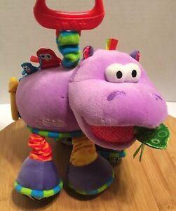 Lamaze Henry the Hippo Infant Toy Plush Jingle Rattle Crinkle Stretchy Purple