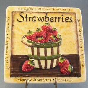 Strawberry Wall Plaque Ceramic Bucket 7.5 x 7.5  Cavendish Winona Types