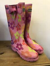 Evercreatures Pink Flower Neoprene Lined Wellies Size UK 7 SECOND GRADE