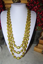VINTAGE LONG OLIVE MOONSTONE ACRYLIC BEADS AND AB AMBER CZECH CRYSTALS NECKLACE