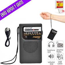 Radio Portatil FM AM Transistor con Altavoz y Jack Para Auriculares de Bolsillo
