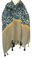 Blue Tassel Scarf Ladies Yellow Oversized Paisley Floral Festival Wrap Shawl