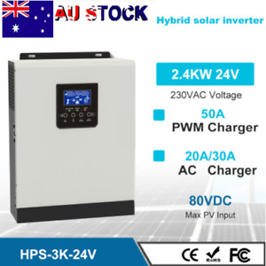 3KVA 2400W Hybrid Solar Inverter Charger Pure Sine Wave 24V PWM 50A Controller