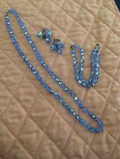 Vintage Jewelry Blue Crystal Necklace Bracelet Earrings Set