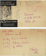 Al Cohen Postcard to Satan in Philadelphia-1957-Orders wands-Coin Stack-Fine -Oo
