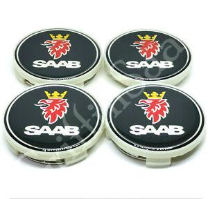4 x Saab Black Alloy Wheel Centre Hub Caps Set 62mm 63mm 93 9-3 95 9-5 900 9000