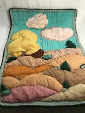 Hand Made Quilted Wall Hanging Table topper garden flag scenic clouds hill 3D