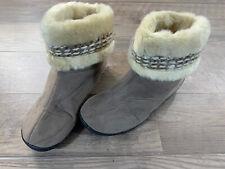 Womens Isotoner Woodland Suede Faux Fur Bootie Slippers sz L 9.5-10 Memory Foam