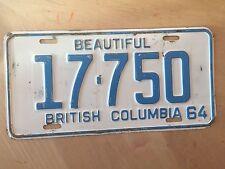 "1964 BRITISH COLUMBIA CANADA PASSENGER AUTO LICENSE PLATE  "" 17 750 ""  BC 64"