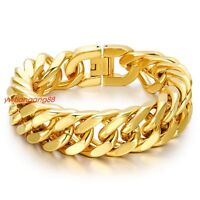 """Heavy Gold Tone Mens Curb Cuban Link Chain 316L Stainless Steel Bracelet 8.46"""""""