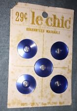 "Vintage Le Chic 3/4"" Orleans Blue Buttons #5271-28 On The Card"