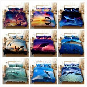 Dolphin 3D Printed Bedding Set 2/3PCS Duvet Cover & Pillowcase(s) Gift AU2F