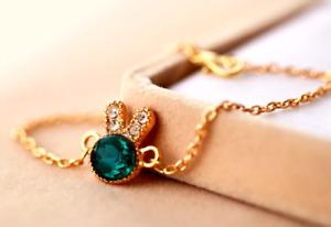 Bunny Rhinestone Charm Bracelet Bangle Blue Glass Bracelet Pulseira Feminina NEW