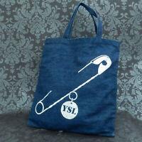Rise-on YVES SAINT LAURENT Blue Denim YSL Logo Safety Pin Tote Bag #12