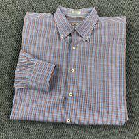 Peter Millar Mens Button Down Shirt Size XL  Cotton Plaid Blue Red Dressy Top