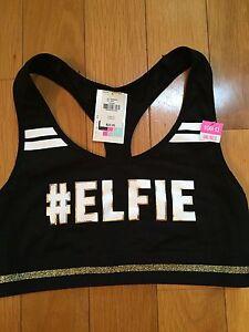 Victoria's Secret PINK #ELFIE Racerback Sports Bra Small AA-C NWT Black Gold