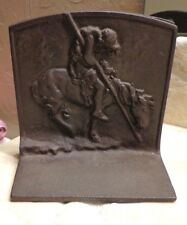 Pair Trail of Tears Cast Iron Indian Warrior Bookends Vintage Metal Book Ends