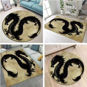Black Dragon Home Decor Carpet Bedroom Area Rugs Living Child Room Floor Mat