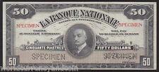 CANADA $50 1922 QUEBEC LA BANQUE NATIONALE CANADIAN *SPECIMEN* CURRENCY BANKNOTE