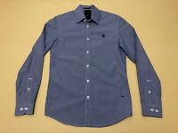 G Star Raw Polo Shirt Mens ~ Size Small ~ Great Cond L/S w/ Pinstripes Design