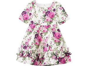Janie & Jack Girl's Cream Magenta Floral Ruffle Hem Open Back Dress NWT Sz. 8