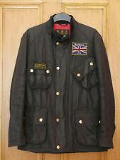 £279 Mens Barbour International Union Jack black wax jacket Small Medium 38