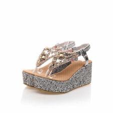 Bling Beaded Flip Flops Shoes Platform Wedge High Heels Sandals AU Size 11 S171