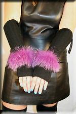 New Black Chenille Fingerless Gloves Purple Fox Fur Trim Hand Warmer Efurs4less