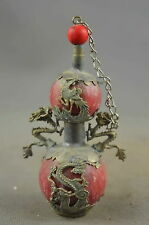 Collectible Old Miao Silver Carve Dragon Phoenix Inlay Agate Royal Snuff Bottle