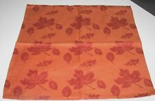 (4) Algodón Park 100% Cotton Servilletas ~ Burdeos Saffron Hojas ~ 45.7cm X