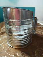 ANTIQUE, FLOUR SIFTER:  BROMWELL'S MEASURING SIFTER (WITH CRANK)