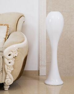 "Uniquewise 39"" Tall White Narrow Unique Fiberglass Modern Floor Vase, QI003597L"