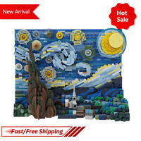 Starry Sky Van Gogh Pixel Painting World Masterpiece Building Blocks Art Mosaic