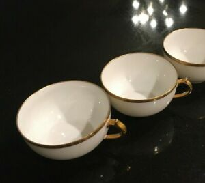 TWO Antique GDA Haviland France LIMOGES White w Raised Gold Trim Cups