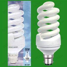 2x 30 W = 150w luz de día triste baja de CFL 6400k Luz Blanca Bombilla Bc B22 Lámpara