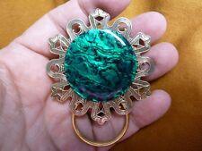 (E-664-A) GREEN Black Abalone shell Eyeglass brass ID badge holder pin brooch