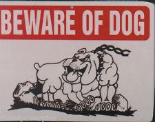 funny man cave sign plastic BEWARE OF DOG bulldog pitbull chain n collar caution