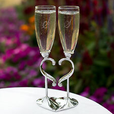 Engraved Silver Rhinestone Heart Wedding Toasting Glasses Champagne Flutes