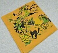 Halloween Witch Green Dot Gown Riding A Broom Haunted House Orange  Paper Napkin